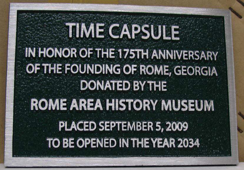 Time Capsule Aluminum Plaque