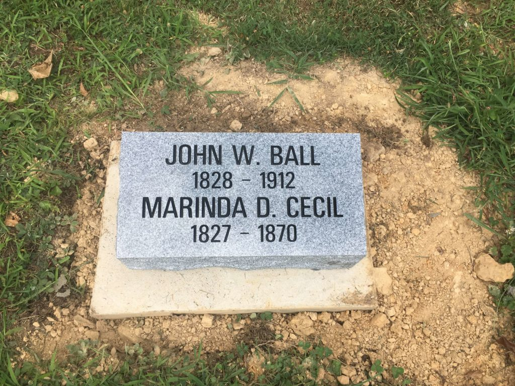 Cecil and Ball Bevel Grave Marker