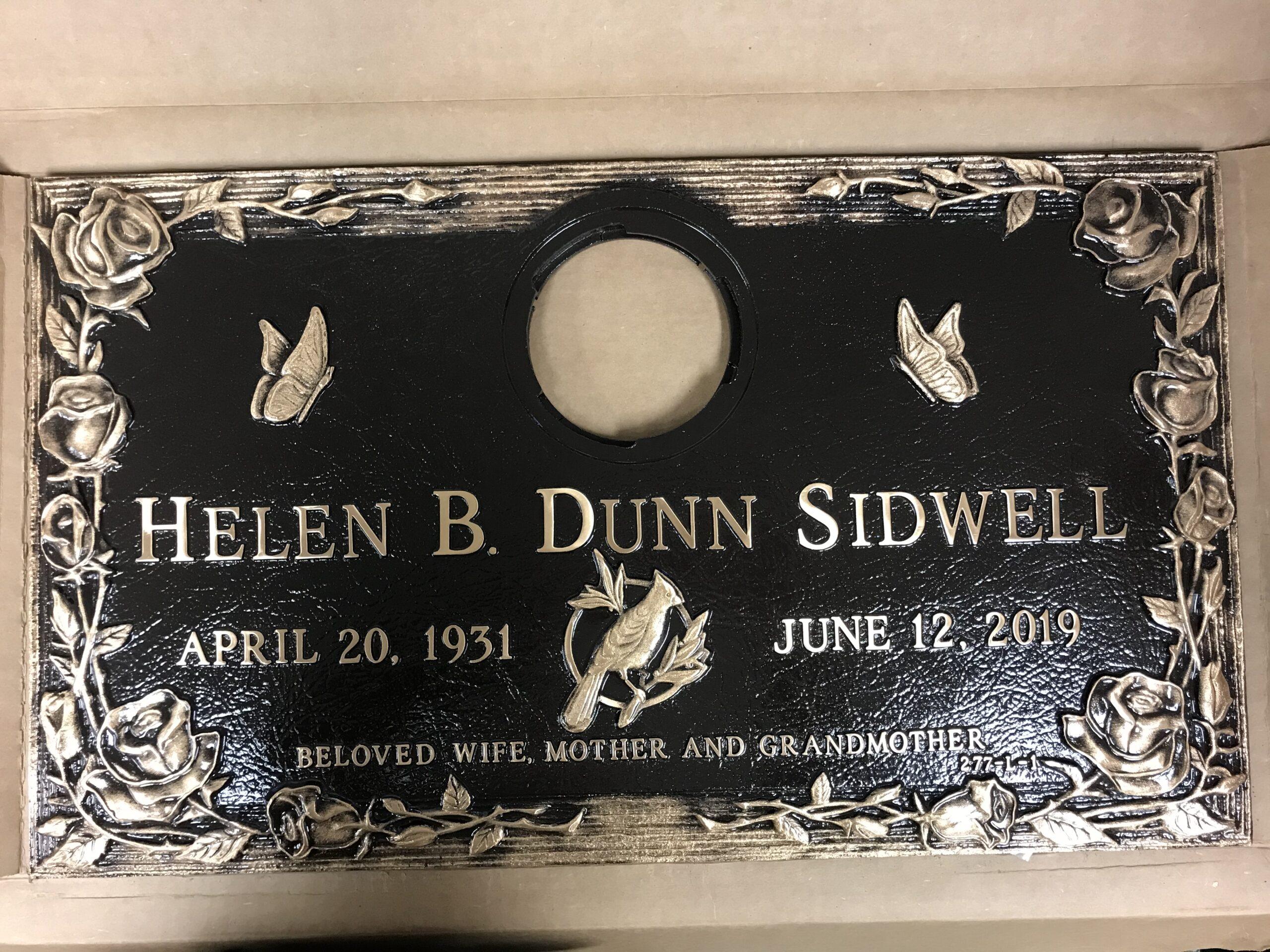 Sidwell, Helen B. Dunn - Zanesville Memorial Park -1