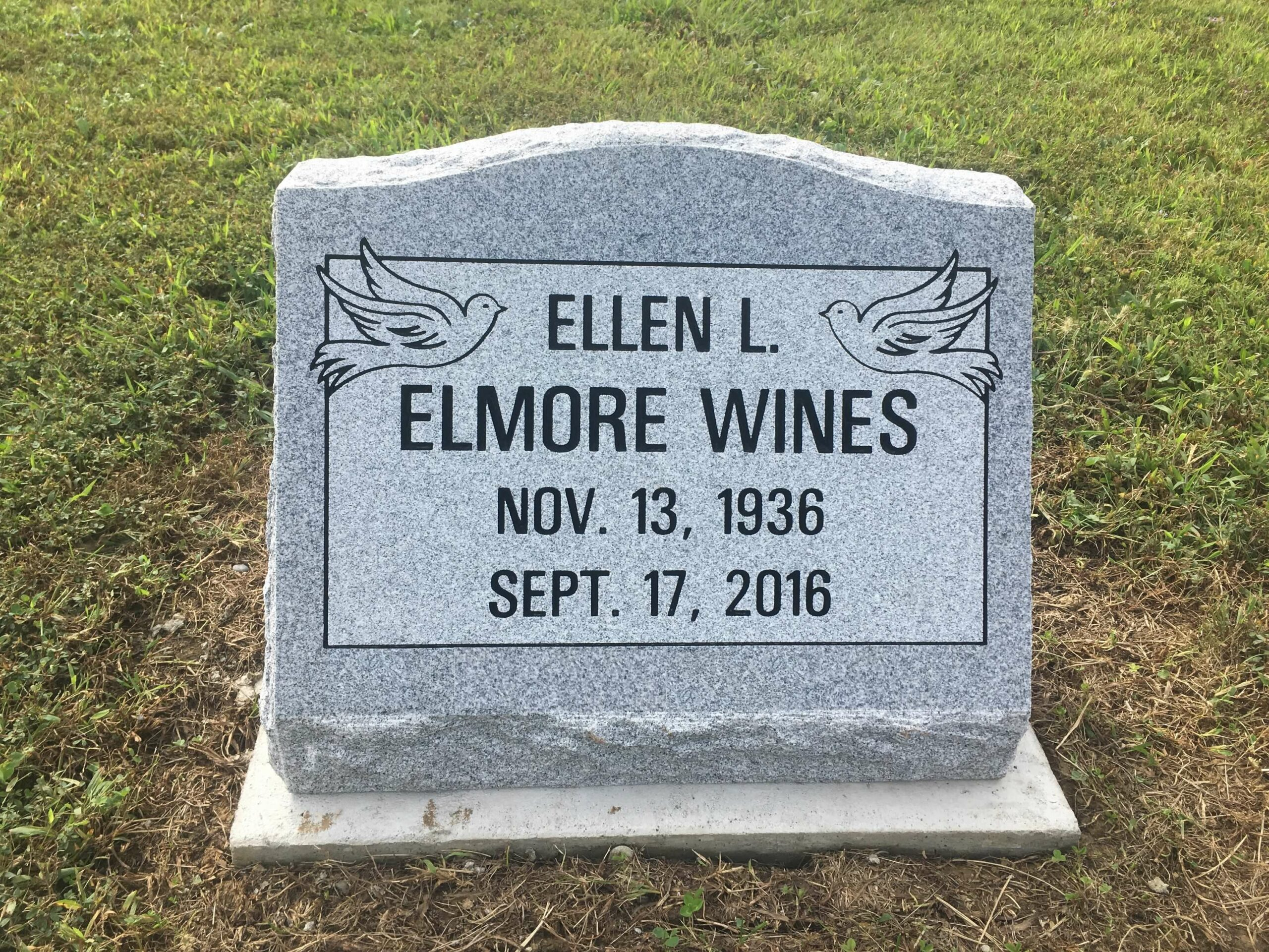 Wines, Ellen L. Elmore - Iliff Cem., 1-8, Gray